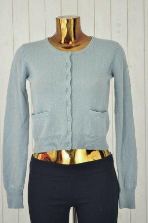 CLOSED Damen Cardigan 100% Kaschmir Blau Rundhals Langarm Gr.S