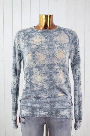 CLOSED Damen Shirt Oberteil Grau Batik Ausbrenner Langarm Baumwollgemisch Gr.S