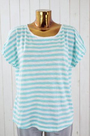 CLOSED Damen T-Shirt Türkis Weiß gestreift Baumwolle Kurzarm U-Ausschnitt Gr.L