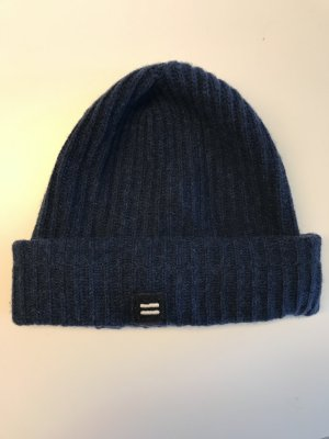 Closed Beanie donkerblauw Wol
