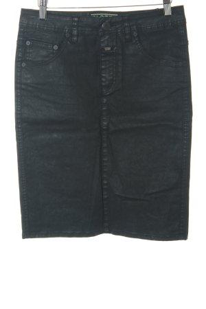 Closed High Waist Skirt black matte look