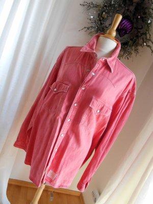 Closed Jeanshemd Vintage verwaschenes Rot Perlmutdruckknöpfe oversized