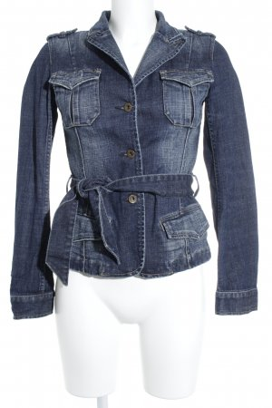 Closed Jeansjacke dunkelblau-wollweiß Washed-Optik