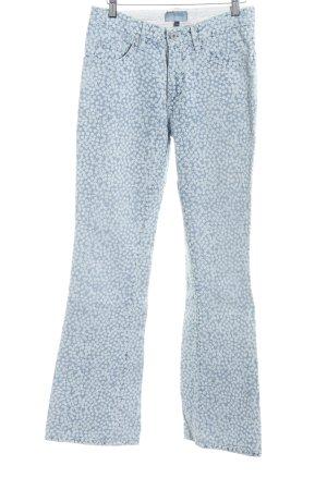 Closed Jeans a zampa d'elefante azzurro-bianco motivo floreale stile casual