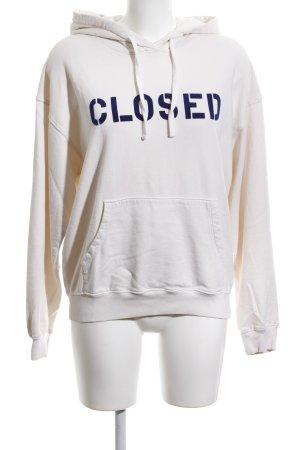 Closed Hooded Sweatshirt white-blue athletic style