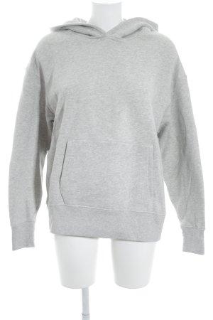 Closed Hooded Sweatshirt light grey flecked college style