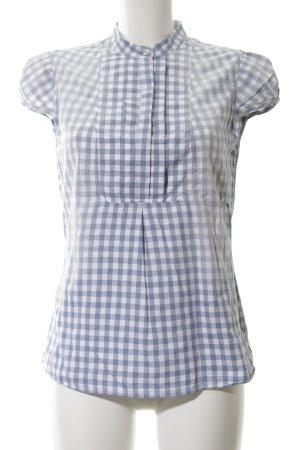 Closed Kurzarm-Bluse blau-weiß Karomuster schlichter Stil