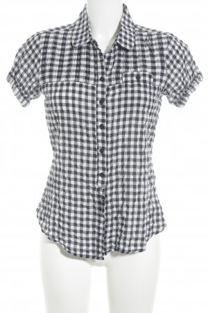Closed Short Sleeved Blouse white-dark blue check pattern casual look