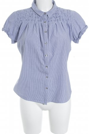 Closed Short Sleeve Shirt blue-white striped pattern classic style