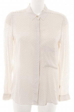 Closed Long Sleeve Blouse cream-brown allover print business style