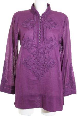 Closed Langarm-Bluse violett abstraktes Muster Ethno-Look