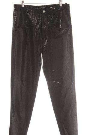 Closed Leren broek zwart gestippeld patroon wetlook