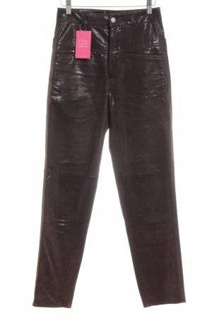 Closed Leather Trousers black brown Logo application