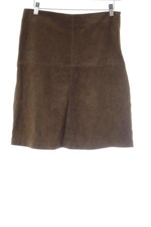 Closed Falda de cuero marrón claro elegante