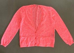 * CLOSED * Leichter Strick CARDIGAN LEINEN Mischung neon rosa orange lachs Gr M 38 / 40