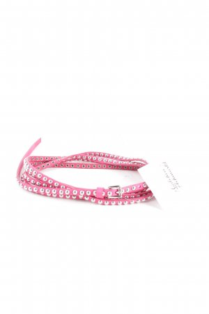 Closed Studded Belt pink-silver-colored extravagant style