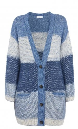 Closed Knitted Cardigan white-blue