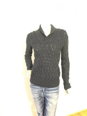 Closed Coarse Knitted Sweater dark blue