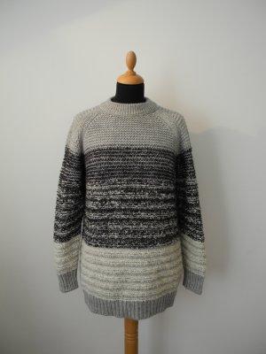 Closed Pullover Strick Strickpullover knitwear kuschelig Wolle S Luxus Norweger grau schwarz wollweiß creme Alpaka Mohair warm Winter Ski