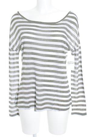 Closed Camisa de rayas verde bosque-blanco estampado a rayas look Street-Style