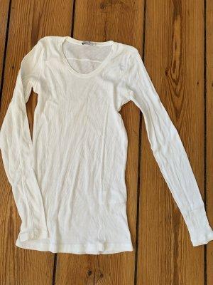Closed Ripp-Longsleeve Langarmshirt mit Rippe in Weiß Rundhalsausschnitt XS top