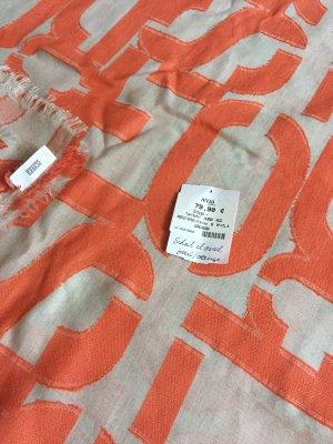 Closed Fringed Scarf orange-light grey