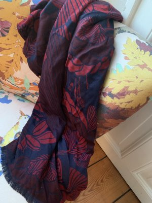 Closed Fringed Scarf dark red-dark blue viscose