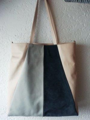 Closed Shopper beige clair-bleu foncé cuir