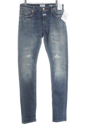 Closed Skinny jeans wolwit-staalblauw gestippeld Biker-look
