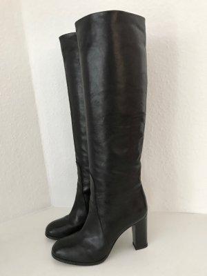 Closed Stiefel Schwarz 39 Leder Blockabsatz High Heels Boots Black Leather TOP