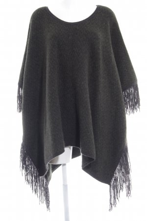 Closed Knitted Poncho dark green-anthracite zigzag pattern fluffy