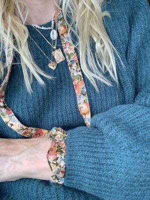 Closed Knitted Sweater petrol alpaca wool