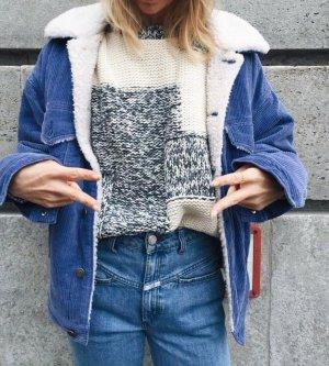 Closed Sweater Weiß Blau Strickpullover kurz Cropped Sommerpulli Patchwork