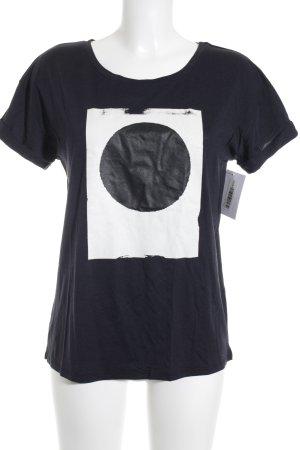 Closed T-Shirt schwarz-weiß Motivdruck Casual-Look