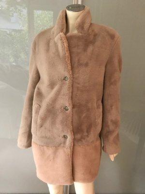 CLOSED Teddy Jacke Mantel Beige Rosa S 36-38 NEU Lammfell Webpelz Fake Fur Coat