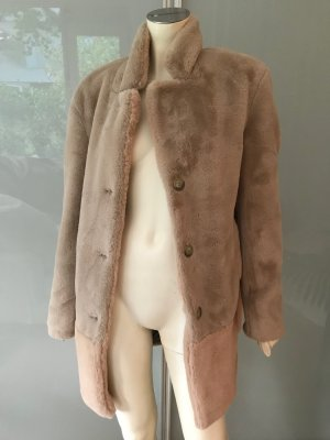 CLOSED Teddy Jacke Mantel Beige Rosa S 36-38 NEU Lammfell Webpelz Fake Fur Coat