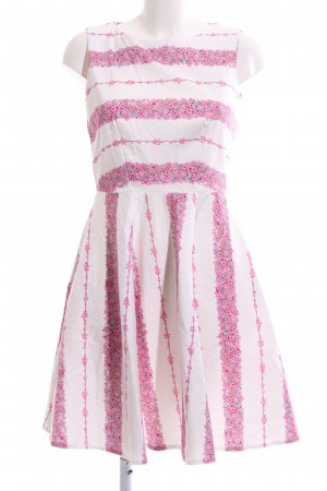 Closet A Line Dress white-pink flower pattern elegant