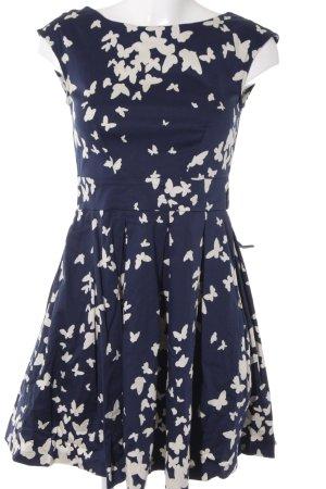 Closet A-Linien Kleid creme-dunkelblau florales Muster Casual-Look