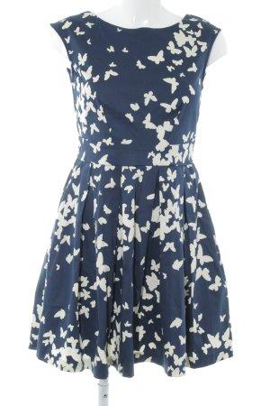 Closet A-Linien Kleid dunkelblau-hellbeige grafisches Muster Elegant