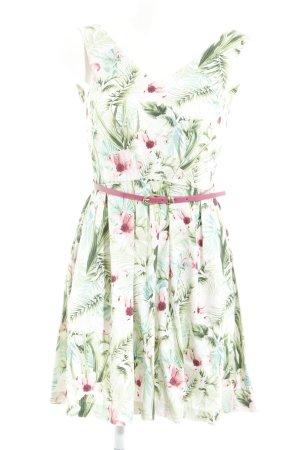Closet A-Linien Kleid hellgrün Blumenmuster Casual-Look