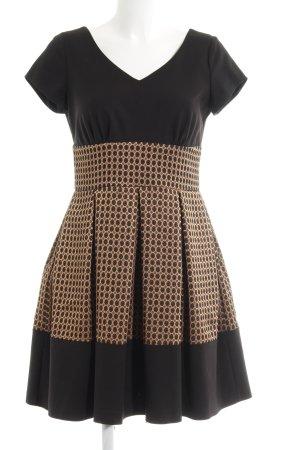 Closet A-Linien Kleid schwarz-bronzefarben Punktemuster Elegant