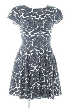 Closet A-Linien Kleid weiß-schwarz florales Muster Elegant