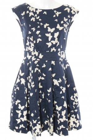 Closet A-Linien Kleid wollweiß-dunkelblau Allover-Druck Romantik-Look