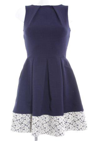 Closet Cocktailkleid dunkelblau-wollweiß Blumenmuster Elegant