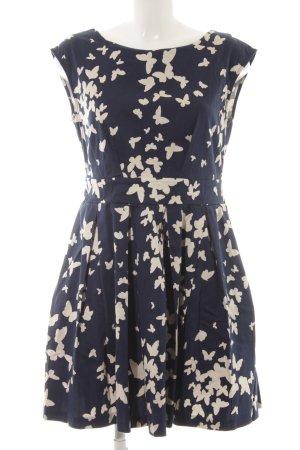 Closet Cocktailkleid dunkelblau-wollweiß grafisches Muster Elegant