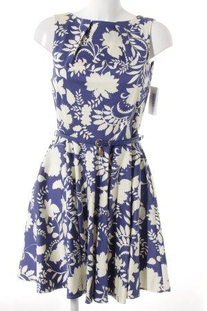 Closet Cocktailkleid wollweiß-blauviolett Blumenmuster Romantik-Look