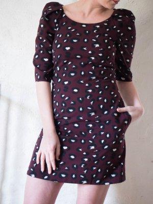 Closet Kleid bordeaux Leopardenmuster Gr. 36