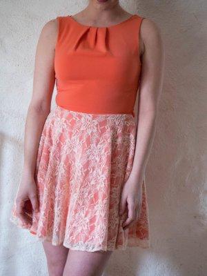 Closet Kleid Spitze flamingo koralle mit Gürtel Gr. 36