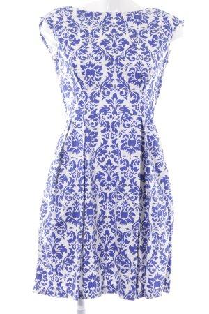 Closet Kurzarmkleid blau-weiß florales Muster Casual-Look