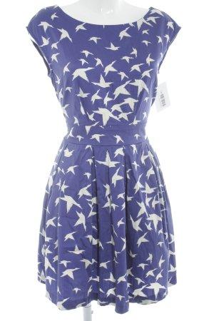 Closet Kurzarmkleid blauviolett-wollweiß Motivdruck Casual-Look